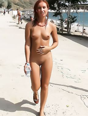 Here we are on our first trip to the nude beach